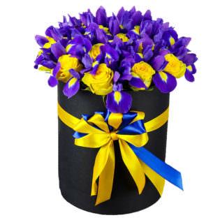 Цветы в коробке «Фиолетовые бабочки»